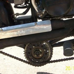 Picture of exhaust.  Top tube is dummy. Actually used as expansion chamber and exhaust is reroutedwith 1/2 inch tube frombottom back up and into botto